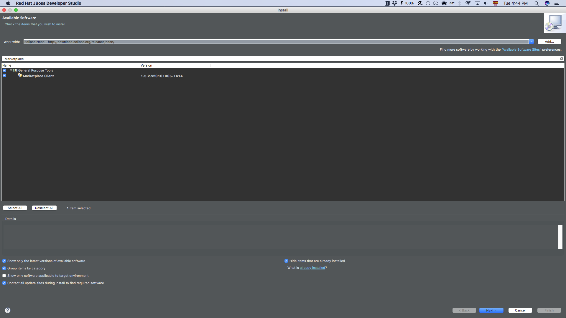 Quicktip] Add Eclipse Marketplace Client to JBoss Developer Studio