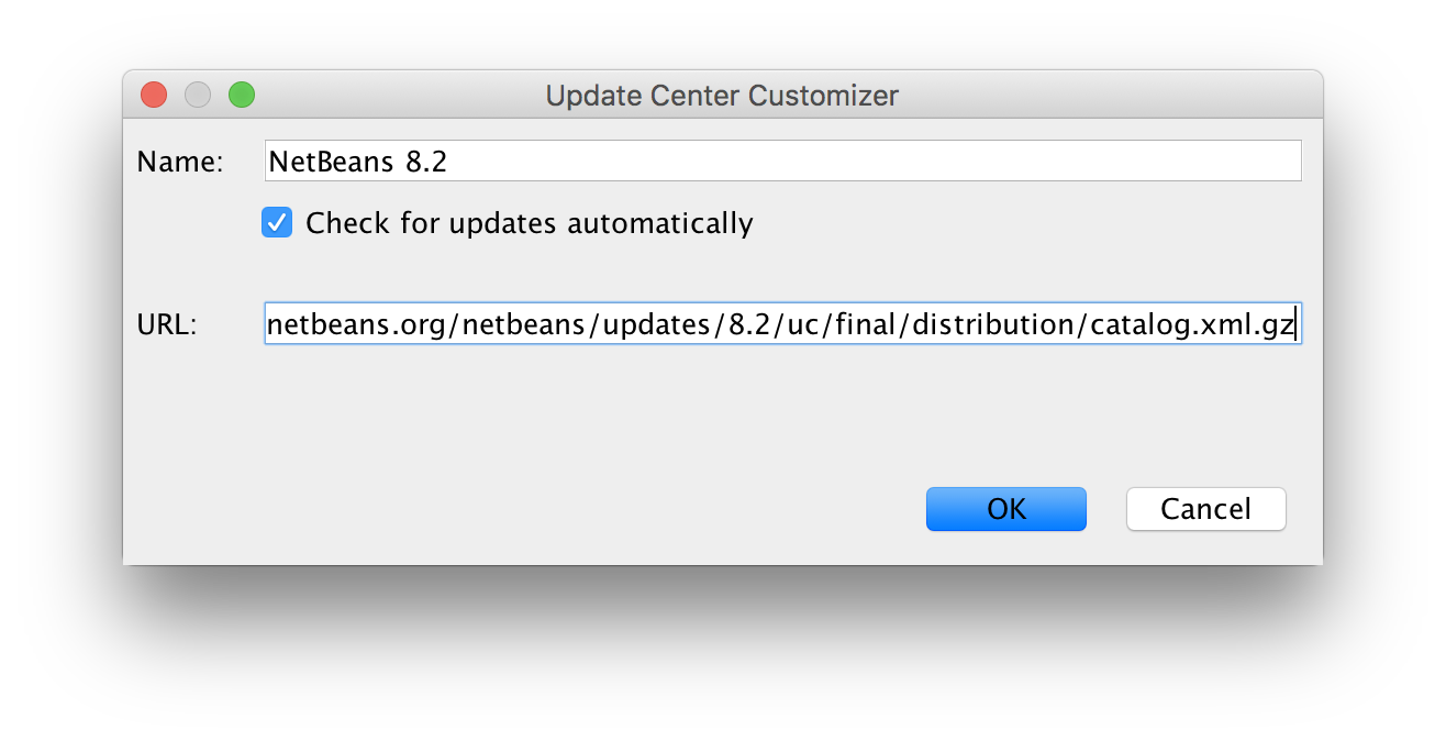 NetBeans 8.2 update center